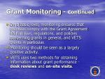 grant monitoring c ontinued
