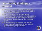 monitoring findings continued