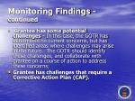 monitoring findings continued58