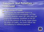 sanctions and penalties continued