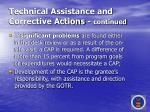 technical assistance and corrective actions continued63
