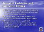 technical assistance and corrective actions