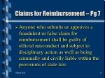 claims for reimbursement pg 713