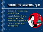 elegability for meals pg 11