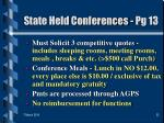 state held conferences pg 13