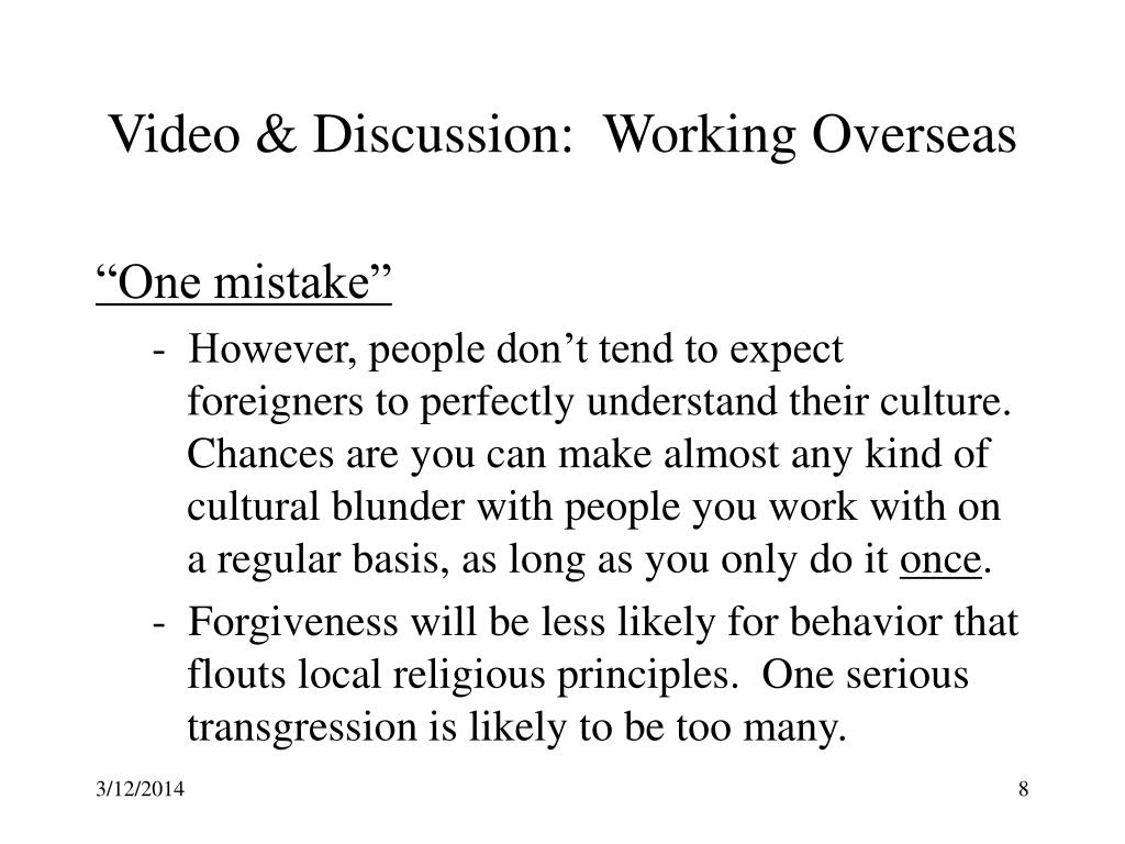 Video & Discussion:  Working Overseas