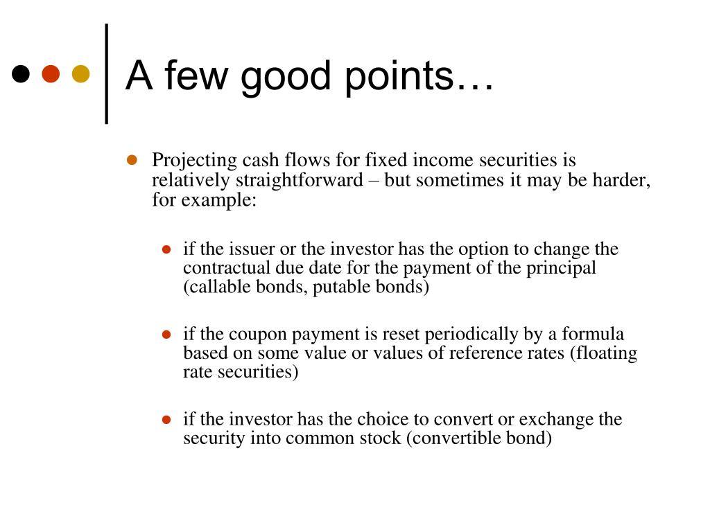 A few good points…