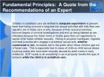 fundamental principles a quote from the recommendations of an expert