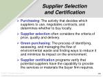 supplier selection and certification