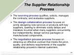 the supplier relationship process