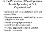 is the promotion of developmental assets appealing to faith organizations