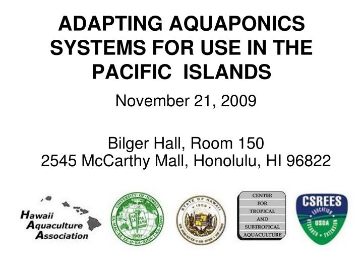adapting aquaponics systems for use in the pacific islands n.