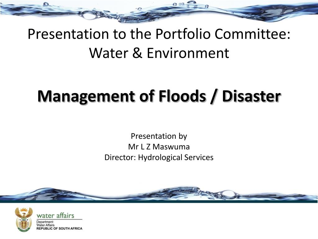 presentation to the portfolio committee water environment l.