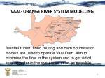 vaal orange river system modelling