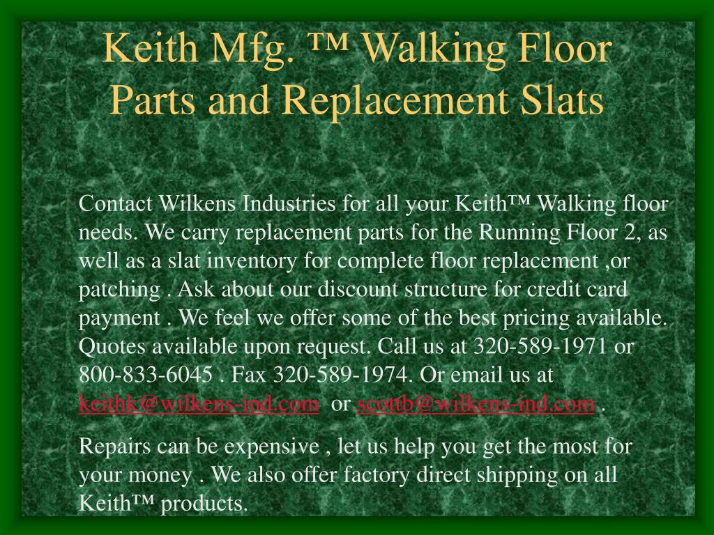 keith mfg walking floor parts and replacement slats l.