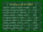 pricing as of 6 1 200711