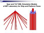 spar and tlp sml simulation models of mit laboratory for ship and platform flows