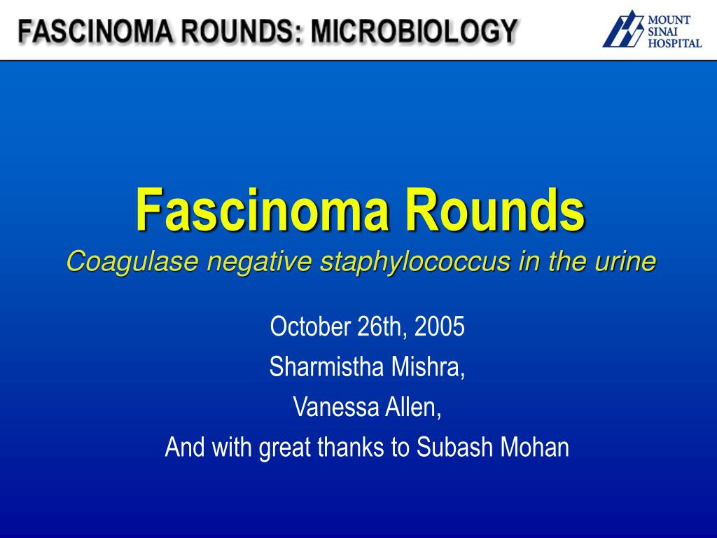fascinoma rounds coagulase negative staphylococcus in the urine l.
