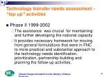 technology transfer needs assessment top up activities