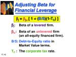 adjusting beta for financial leverage