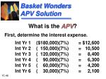 basket wonders apv solution