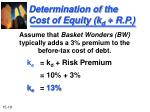 determination of the cost of equity k d r p