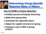 determining group specific required rates of return