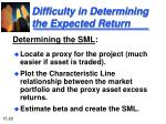difficulty in determining the expected return