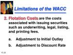 limitations of the wacc23