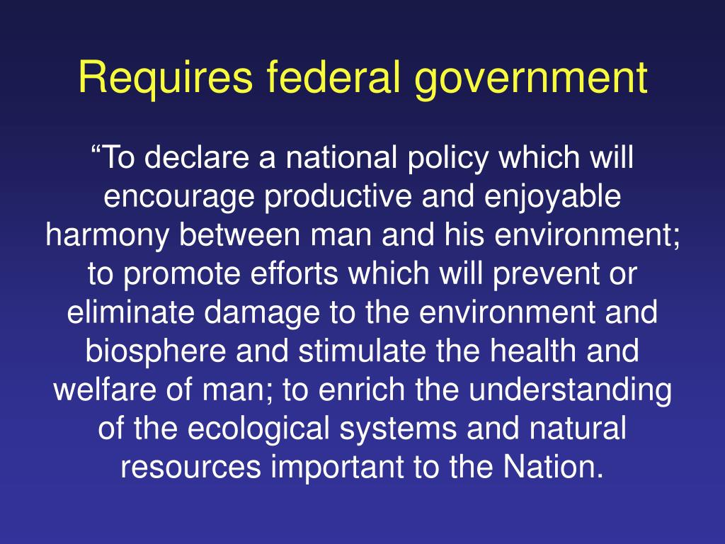 Requires federal government