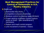 best management practices for control of salmonella in u s poultry industry22