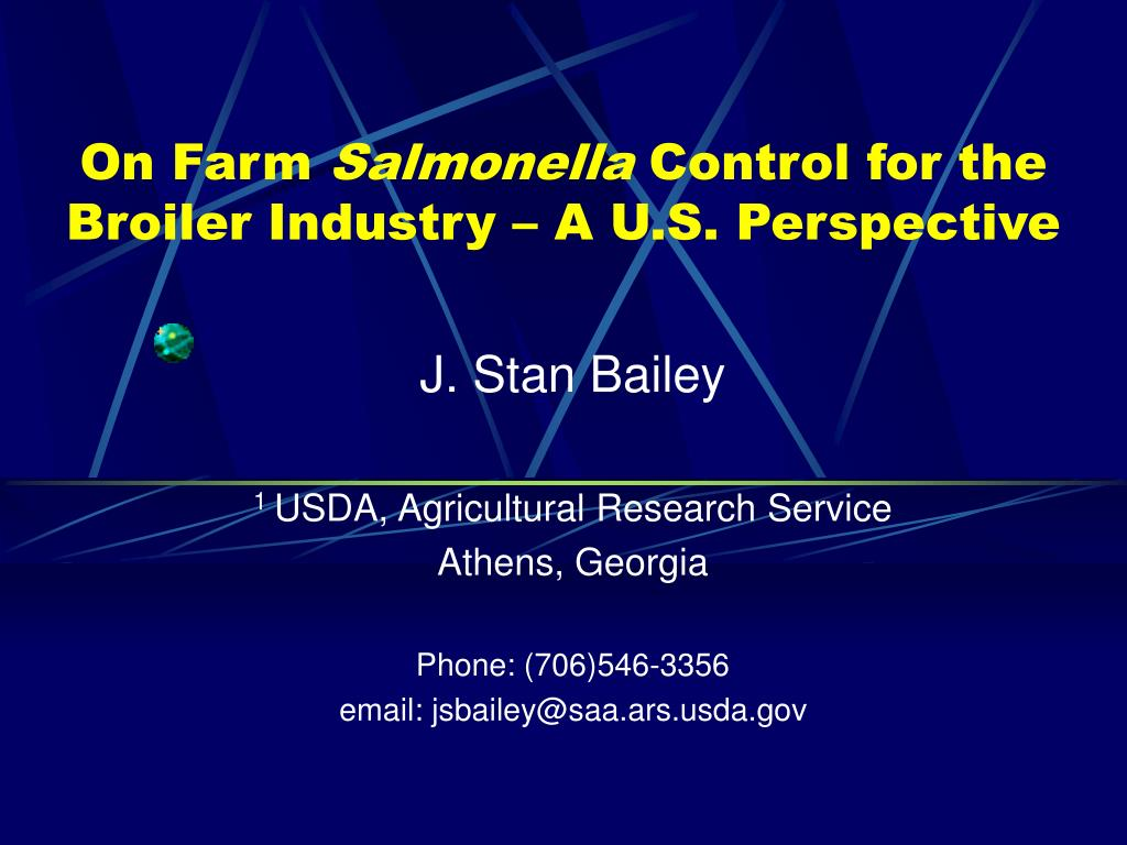 on farm salmonella control for the broiler industry a u s perspective l.