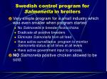 swedish control program for salmonella in broilers