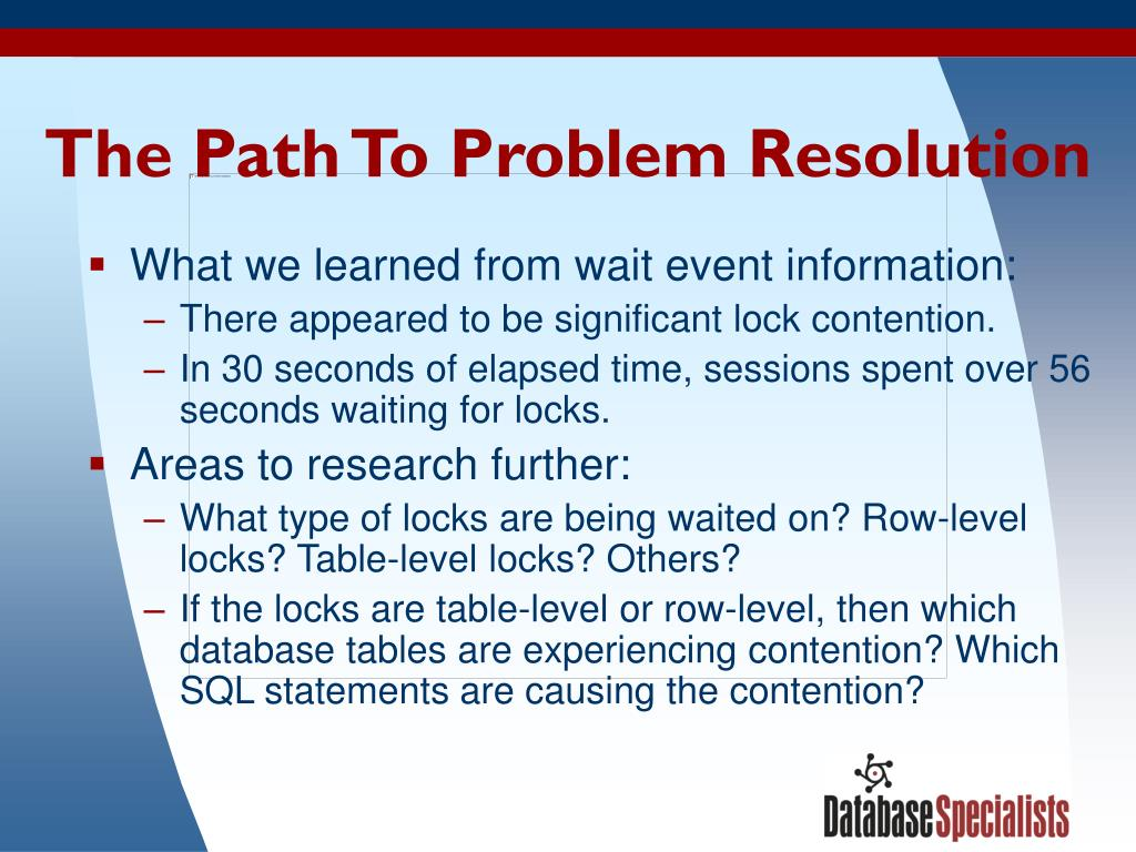 The Path To Problem Resolution