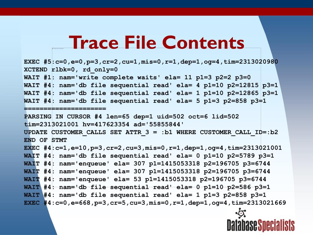Trace File Contents