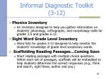 informal diagnostic toolkit 3 12