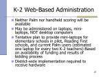k 2 web based administration