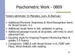 psychometric work 0809