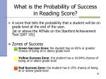 what is the probability of success in reading score