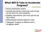 what will it take to accelerate progress