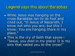 legend says this about barabbas