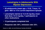lamotrigine in adolescents with bipolar depression