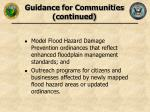 guidance for communities continued