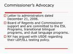 commissioner s advocacy