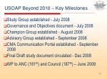 usoap beyond 2010 key milestones