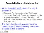 data definitions relationships