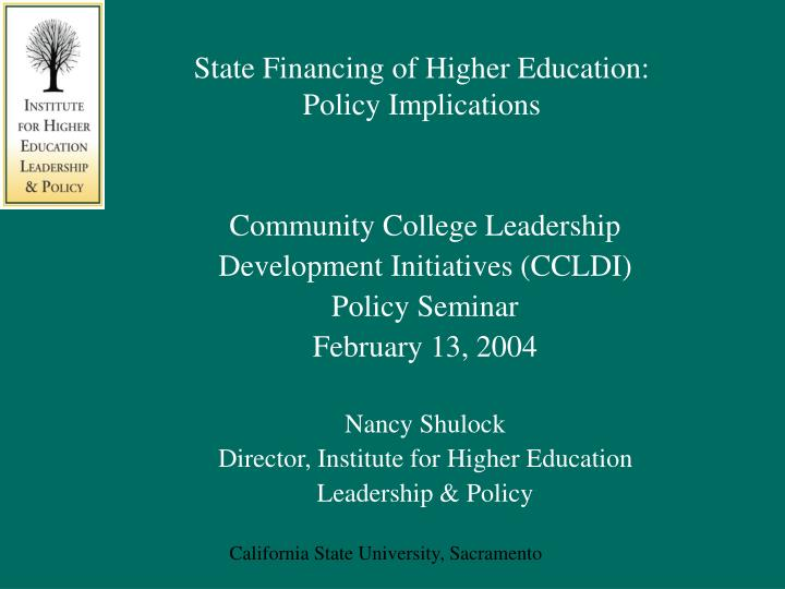 state financing of higher education policy implications n.