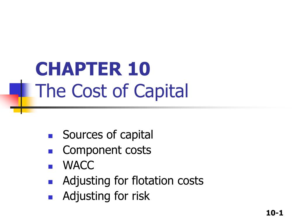 chapter 10 the cost of capital l.