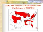 states with data in storet national data warehouse as of 03 05 2002