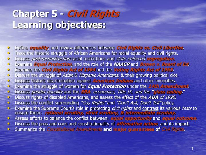 chapter 5 civil rights learning objectives n.